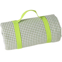 Large green apple gingham picnic blanket waterproof backing (280 x 140 cm)