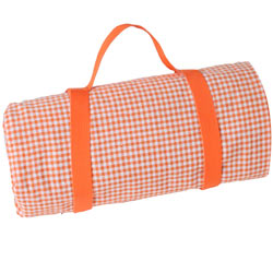 Large Orange gingham picnic blanket with waterproof backing (280 x 140 cm)