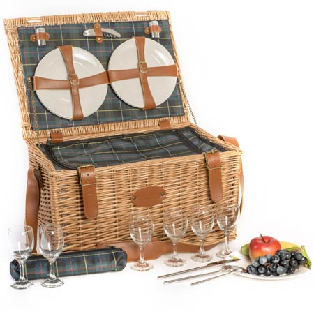 """Trianon Green"" Picnic basket for 6 people"