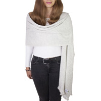 Women's stole/pashmina in Silver grey Herringbone pattern
