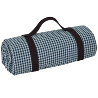 Large picnic blanket, green gingham, waterproof backing (280 cm x 140 cm)
