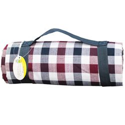 Blue, White and Red tiles Picnic Blanket (140 x 140 cm)