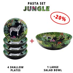 Pasta service: 1 salad bowl + 4 soup plates (-20%) Jungle Theme