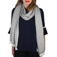 Women's stole/pashmina in Anthracite Grey diamond pattern