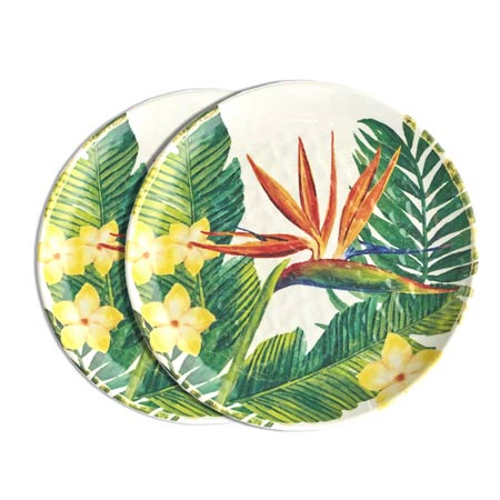 Small melamine plate - Exotic Flowers. 2 pieces