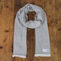 Men's mouse grey cashmere and wool scarf - Diamond pattern