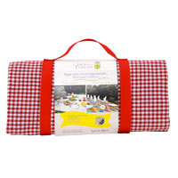 Large picnic blanket, red gingham, waterproof backing