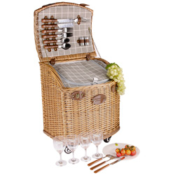 "Picnic basket on wheels "" Concorde"" 4 person."