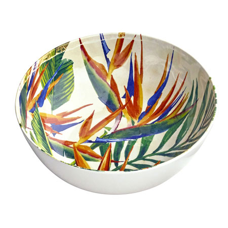 Salad Bowl in melamine - Exotic Flowers.