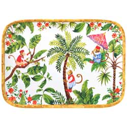 Rectangular tray with rounded corners - Bamboo-effect rim - pure melamine - 45 cm - Bali's Monkeys