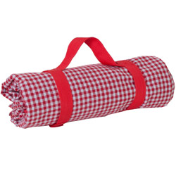 Red gingham picnic blanket waterproof backing (140 x 140 cm)