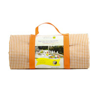Waterproof picnic blanket orange gingham and white striped (140 x 140 cm)