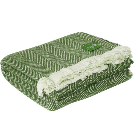 Reversible throw in cashmere and wool: green / ivory