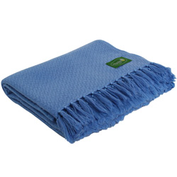 Comfortable throw in cashmere and wool: blue / ivory