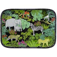 Rectangular tray with rounded corners - Bamboo-effect rim - pure melamine - 45 cm - Jungle