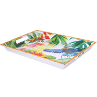 Large Rectangular Serving Tray - Bamboo-effect rim - 100% melamine - 50 cm - Tropical Birds