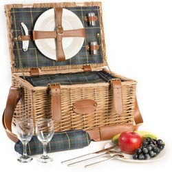 """Trianon green"" Picnic basket for 2 people"