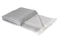 Reversible throw in cashmere and wool: grey / ivory