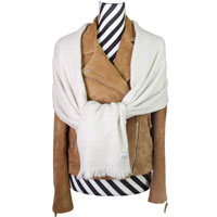 Women's stole/pashmina in Almond beige Herringbone pattern